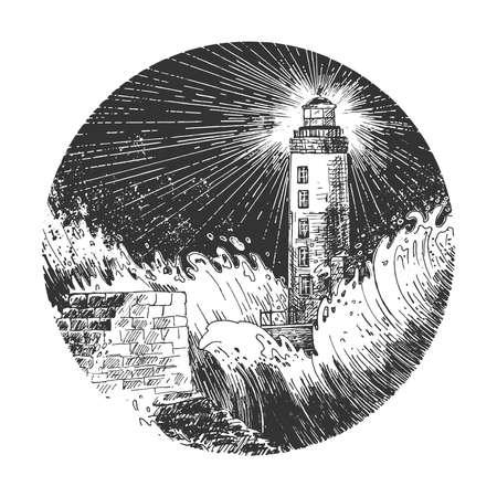 Vector hand drawn illustration of night lighthouse. High beacon tower in rainy and stormy dark sea landscape round sketch in vintage engraved style. Isolated on white background.