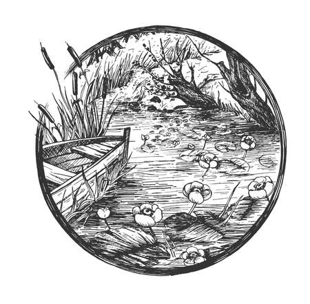 Vector hand drawn illustration of river with blooming water lily flower, leaves and wooden boat in bed of rushes in vintage engraved style. Isolated on white background.