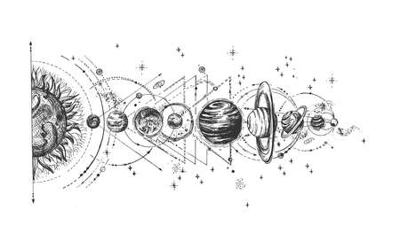 Vector hand drawn illustration of planet with satellite arrangement from sun sketch. Solar system infographic in vintage engraved style. Isolated on white background.