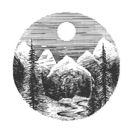 Vector hand drawn illustration of sunrise or sunset in mountain surrounded by forest with spruce and fir tree, river in vintage engraved style. Isolated on white background.