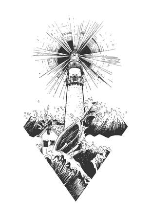 Vector hand drawn illustration of lighthouse. Nautical beacon tower with searchlight rays surrounded big stormy sea wave. Diamond shape image in vintage engraved style. Isolated on white background.