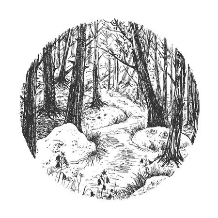 Vector hand drawn illustration of forest round sketch. Black-and-white natural landscape with trees and blooming spring wildflowers in vintage engraved style. Isolated on white background. 向量圖像