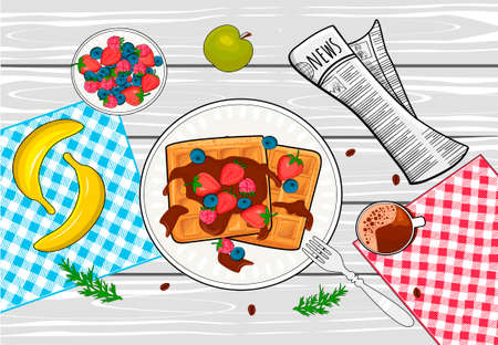 Vector illustration of tasty breakfast. Fresh waffles with chocolate topping, berry and fruits, coffee hot drink. Served table with newspaper top view. Vintage hand drawn style.