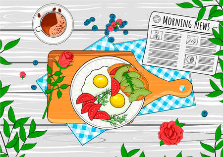Vector illustration of fresh healthy home breakfast. Fried eggs, sliced tomatoes, toasted bread with avocado on served with checkered tablecloth and daily morning newspaper. Vintage hand drawn style
