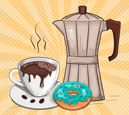 Vector illustration of freshly brewed coffee and donut. Moka pot, sweet dessert and hot aroma drink over polka dot sunbeam rays pop art background. Vintage hand drawn style. 일러스트
