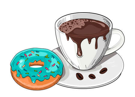 Vector illustration of coffee break time with donuts. Sweet dessert, hot aroma drink in cup on saucer. Polka dot with sunbeam rays pop art background. Vintage hand drawn style.