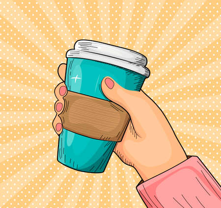 Vector illustration of coffee break. Female hand holding disposable takeaway aroma drink cup with cardboard holder over polka dot sunbeam rays pop art background. Vintage hand drawn style.