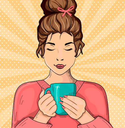 Vector illustration of girl drinking coffee. Young woman with eyes closed enjoying hot drink. Portrait over polka dot sunbeam rays pop art background. Vintage hand drawn style. Ilustracja