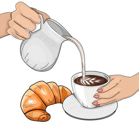 Vector illustration of coffee preparation. Female hand pouring milk in coffee. Barista hold cup and making latte or cappuccino. Ceramic cup and jar, fresh croissant. Vintage hand drawn style.