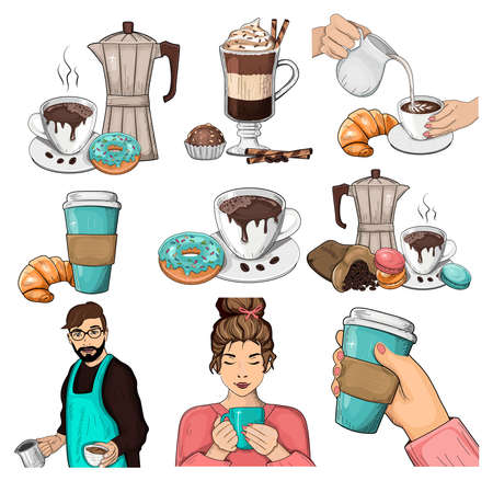 Coffee set. Vector iilustration. Coffeemaker portrait, barista, woman coffee lover portrait, latte, still life. Ilustracja