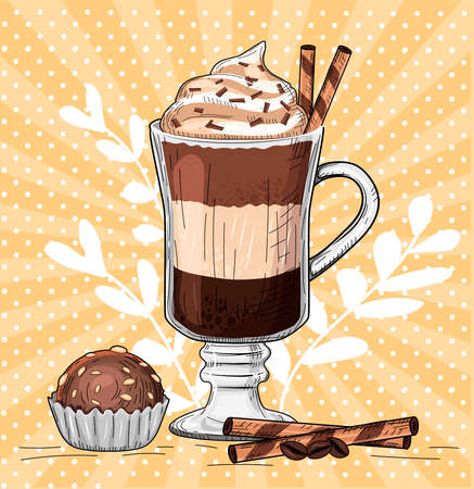 Vector illustration of latte. Hot milk caffeine drink with spices and compliment from chef as chocolate muffin. Vintage hand drawn style.