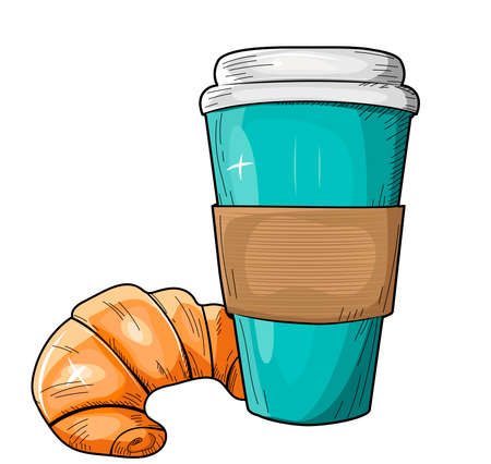 Vector illustration of appetizing breakfast. Tasty fast food snack with croissant and coffee in takeaway cup. Polka dot with sunbeam rays pop art background. Vintage hand drawn style.