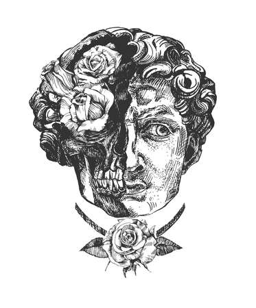 Vector hand drawn illustration of halved ancient David statue face and skull with rose flower decoration sketch portrait in vintage engraved style. Isolated on white background.