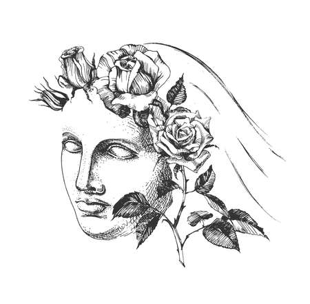 Vector hand drawn illustration of Aphrodite (Venus de Milo) face with blooming rose flower wreath and veil sketch portrait in vintage engraved style. Isolated on white background