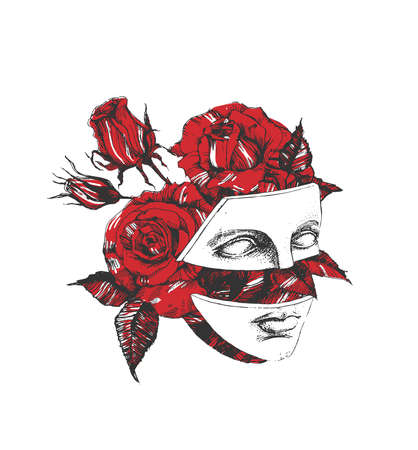 Vector hand drawn illustration of Aphrodite fragmented face over beautiful red rose bouquet portrait in vintage engraved style. Isolated on white background. Ilustracja