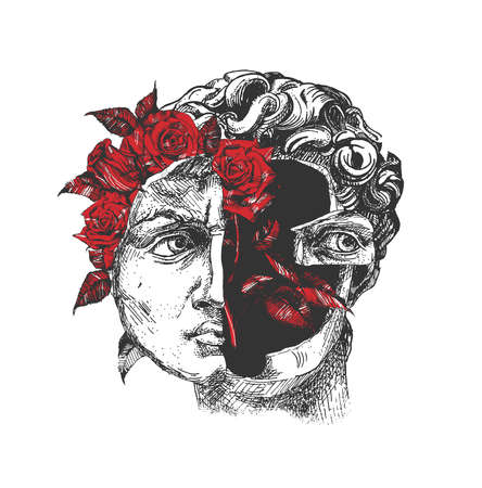 Vector hand drawn illustration of handsome David ancient statue with red blooming rose bud flower portrait in vintage engraved style. Isolated on white background. Ilustracja