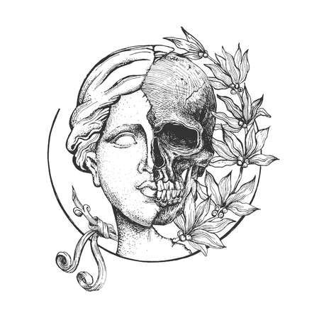 Vector hand drawn illustration of Venus de Milo sculpture. Head of antique greek goddess statue head and skull in half with flowers in vintage engraved style. Isolated on white background Ilustracja
