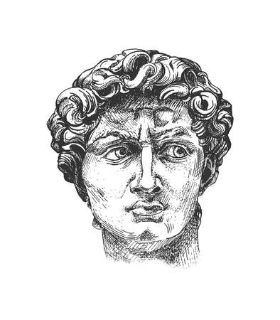 Vector hand drawn illustration of David head antique Michelangelo statue sketch engraved style in vintage engraved style. Isolated on white background.