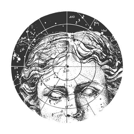 Vector hand drawn illustration of Aphrodite statue face on starry sky with constellation and coordinate calculation. Fornasetti art plate decor in vintage engraved style. Isolated on white background