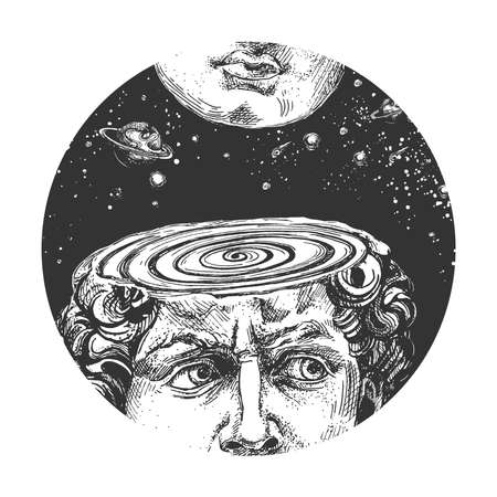 Vector hand drawn illustration of David head face antique Michelangelo statue over cosmic space with planet and star. Fornasetti art plate in vintage engraved style. Isolated on white background.