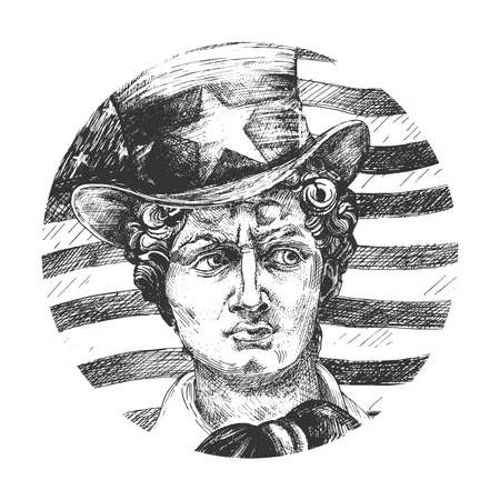 Vector hand drawn illustration of David statue head of Michelangelo wearing president cylinder hat on american flag. Fornasetti art plate decor in vintage engraved style. Isolated on white background Ilustracja