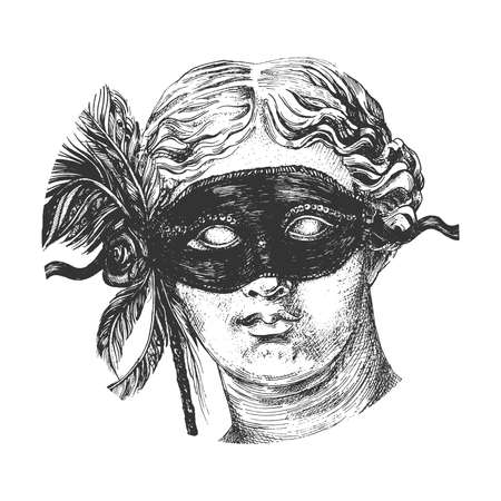 Vector hand drawn illustration of Aphrodite (Venus de Milo) statue head wearing carnival festive mask with flower and feather in vintage engraved style. Isolated on white background.