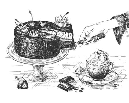 Vector hand drawn illustration of female hand taking piece of chocolate cake for snack, cappuccino with cream and sweet dessert on served table in vintage engraved style