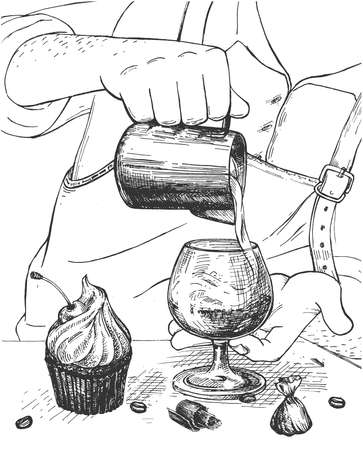 Vector hand drawn illustration of barista making latte coffee drink pouring milk from jar, cherry muffin with cream, candy, arabica beans and chocolate chips on table in vintage engraved style