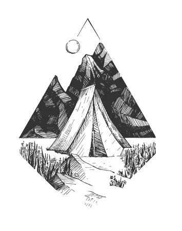 Vector hand drawn illustration of camp tourist tent against mountain in vintage engraved style. Isolated on white background.