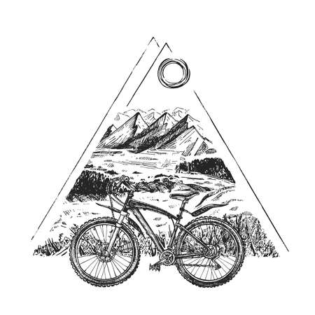 Vector illustration of trail ride tour set. Sport bicycle, bike or rover on the stylish modern mountains landscape background in triangle. Vintage hand drawn style. Ilustracja