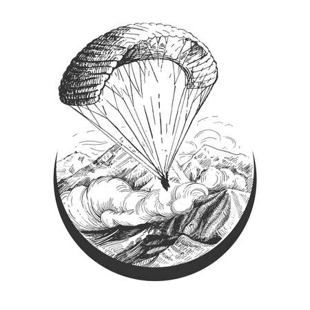 Vector hand drawn illustration of skydiver descending with parachute in sky flying over mountains range in vintage engraved style. Paragliding or parachuting sport logo isolated on white background. Logo