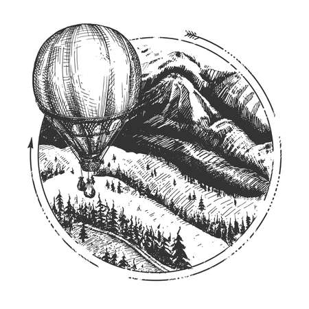 Vector hand drawn illustration of aerostat over highlands and forest sketch. Round mountain landscape with hot air balloon in sky in vintage engraved style. Isolated on white background. Ilustracja