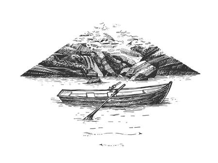 Vector hand drawn illustration of wooden boat with paddle floating on river or lake water in mountain in vintage engraved style. Isolated on white background.