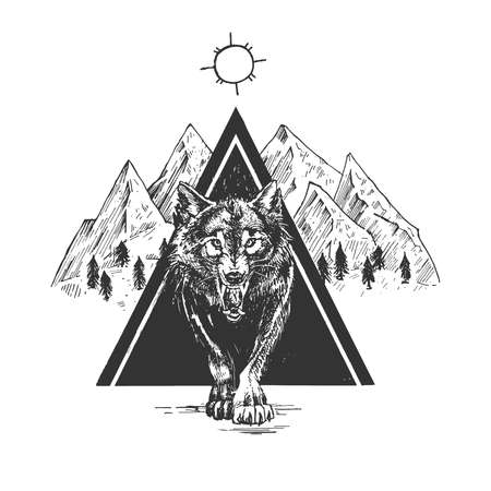 Vector hand drawn illustration of angry grinning wolf coming out of dark triangle with mountain, forest, sun in sky landscape in vintage engraved style. Isolated on white background.