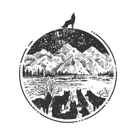 Vector hand drawn illustration of horde of wolves in winter forest and alpha male wolf howling on moon in vintage engraved style. Mountain highlands landscape isolated on white background.