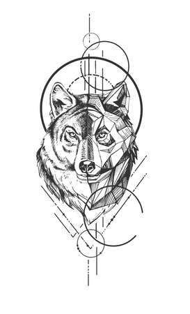 Vector hand drawn illustration of wild wolf head with polygonal design and geometric figures symbol in vintage engraved style. Isolated on white background.