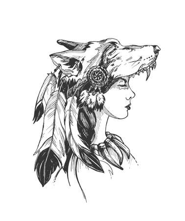 Vector hand drawn illustration of woman shaman wearing wolf ethnic spiritual headdress in vintage engraved style. Portrait isolated on white background.