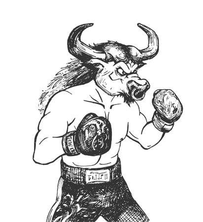 Vector hand drawn illustration of bull athlete boxer wearing boxing gloves, championship belt and shorts in vintage engraved style. Animal portrait Isolated on white background.