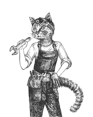 Vector hand drawn illustration of cat mechanic in uniform holding wrench in vintage engraved style. Animal portrait isolated on white background.