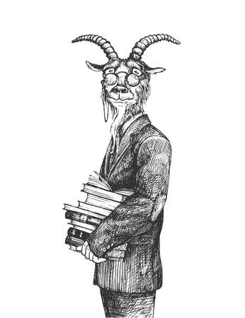 Vector hand drawn illustration of smart goat professor wearing classic formal suit and eyeglasses standing and holding books stack in vintage engraved style. Portrait isolated on white background. Ilustracja