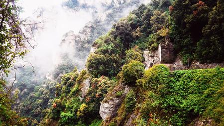 arcane: fog in the mountains Montserrat Stock Photo