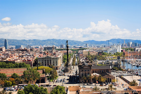 horizont: the view of Barcelona from the top, the view of the port of Barcelona with the funicular Stock Photo