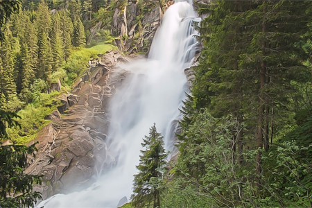 View beauty Alpine inspiring Krimml waterfall in mountains. Trekking in National park Hohe Tauern, Austria, Europe