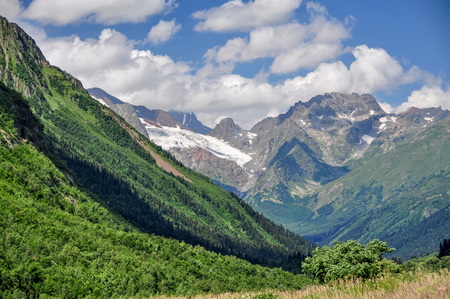 Closeup mountains scenes in national park Dombai, Caucasus, Russia, Europe. Sunshine weather and blue sky, summer day