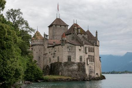 Montreux, Switzerland - July 2, 2017: Beautiful view of famous Chateau de Chillon castle, Geneva lake, Montreux, Switzerland, Europe. Redakční