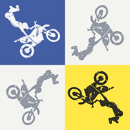 Illustrazione dell'uomo di moto e motociclisti. Immagine in stile creativo e sportivo Vettoriali