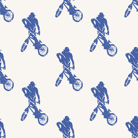 Bike and bikers man pattern illustration. Creative and sport style image Illustration