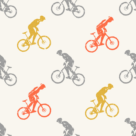 Bike and bikers man pattern illustration. Creative and sport style image 矢量图像