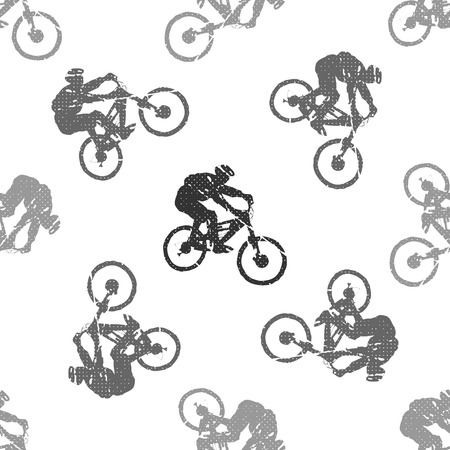 Bike and bikers man pattern illustration. Creative and sport style image Çizim