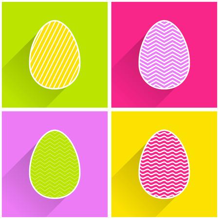 Flaches Osterei mit geometrischer Musterillustration für Feiertagshintergrund. Kreativ- und Modestilkarte Vektorgrafik